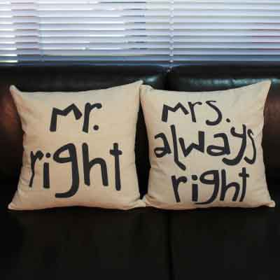 Kussens set Mr Right & Mrs always right