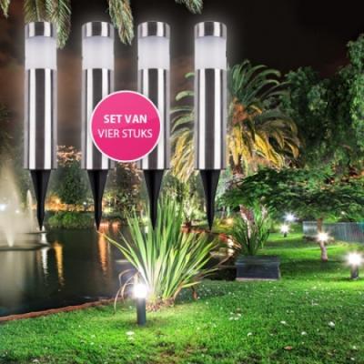 4 RVS tuinlampen aanbieding