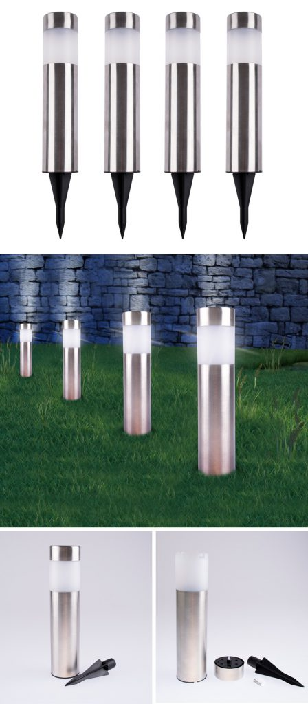 RVS LED tuinlampen 4 stuks aanbieding