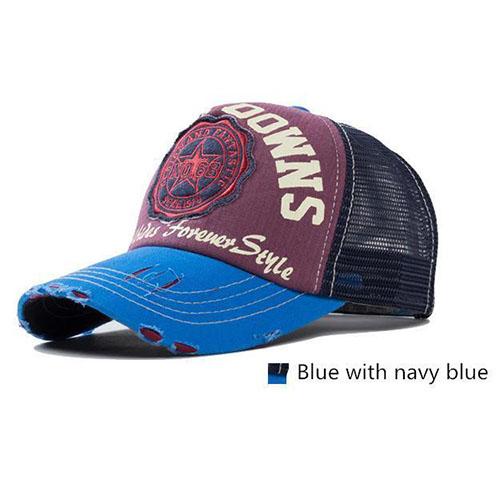 Blauw met navy blauw baseball cap
