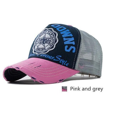 Roze en grijs baseballcap