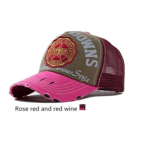 Roze met bordeaux rood baseball cap