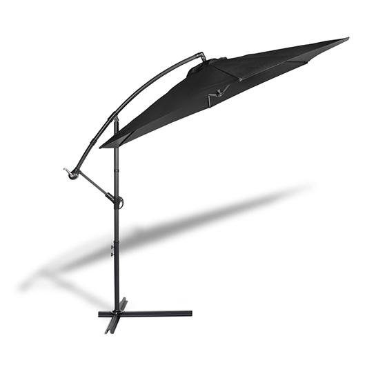 Hangende Parasol Zwart Vrijstaand 1