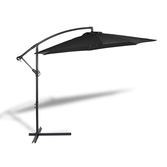 Hangende Parasol Zwart Vrijstaand 2