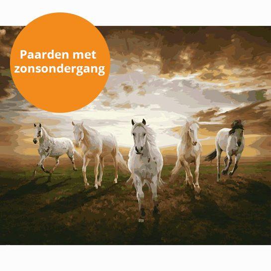 paarden met zonsondergang