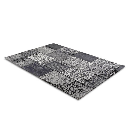 Patchwork Katoen Black Grey 2