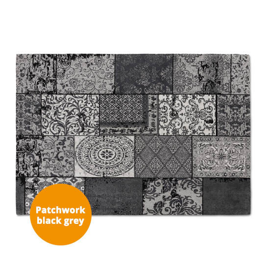 Patchwork Katoen Black Grey3