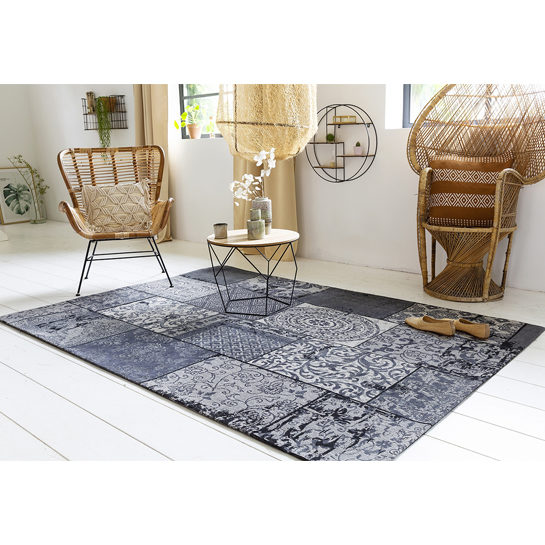 Patchwork Katoen Black Grey4