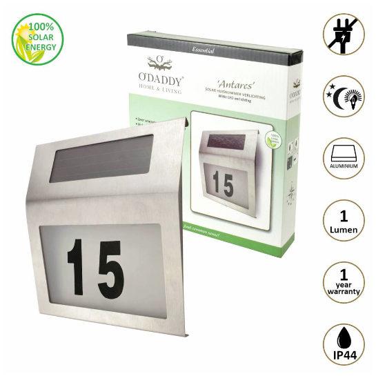Huisnummerverlichting Odaddy Solar