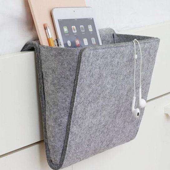 1 Vilt Multifunctionele Bed Bank Opknoping Houder Organizer Box Tijdschrift Smart Telefoon Afstandbediening Opbergtas Zakken 27.
