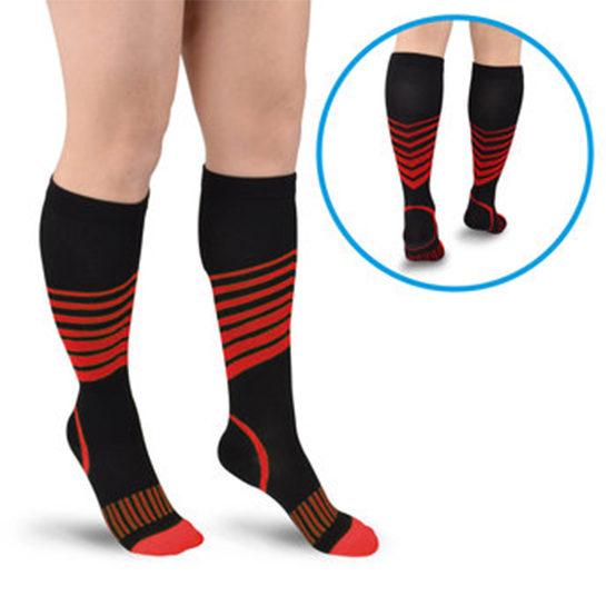 Sport Compressie Sokken Stripes Rood En Achter