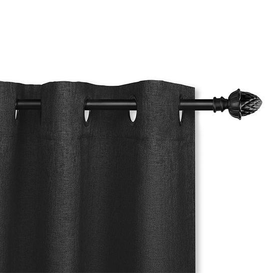 Luxe Gweven Gordijn Zwart Ringenn