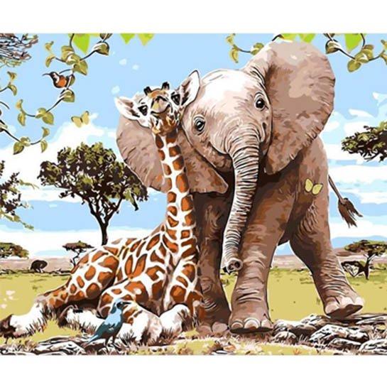 Giraffe Olifant1