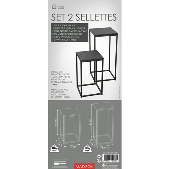 Set Van 2 Metalen Bijzettafels Verpakking