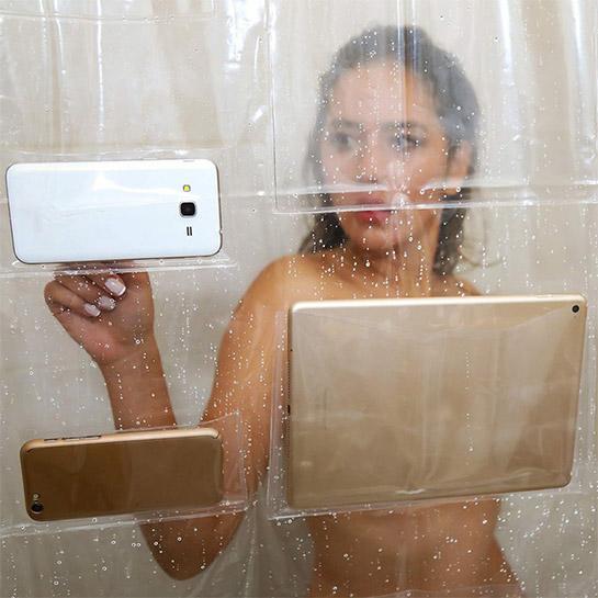 Telefoon Tablet Houder Clear Douchegordijn Sfeer 2