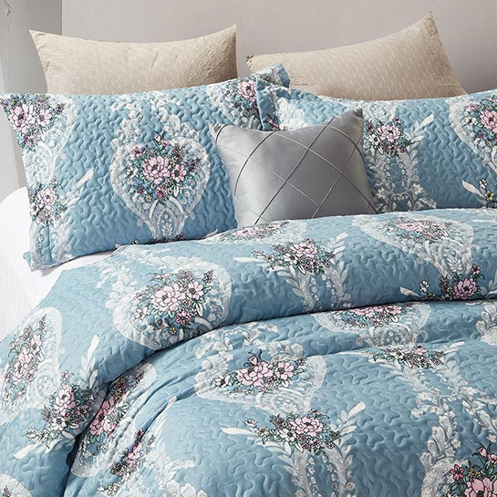 Bedsprei Retro Flower Blue Close Up 1