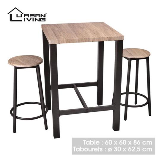Urban Living Hoge Bartafel Met 2 Barstoelen Krukken Rond 545x545