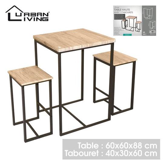 Urban Living Hoge Bartafel Met 2 Barstoelen Krukken Vierkant 545x545