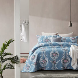 Bedsprei Retro Flower Blue Sfeer 1