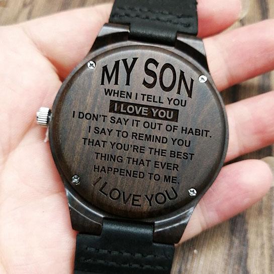 Houten Horloge 'to My Son' Sfeer 4