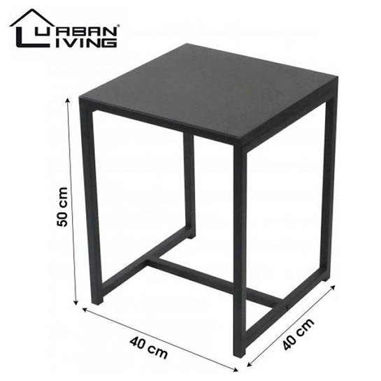 Urban Living Bijzettafel Koffietafel Side Table Vierkant Industrieel Design Metalen Blad & Metalen Frame 40 X 40 X 50 Cm 1