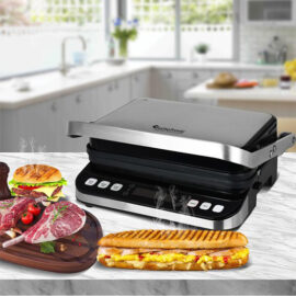Turbotronic Tt Cg800 Digitale Rvs Contact Grill Met Led Display 1600w 6