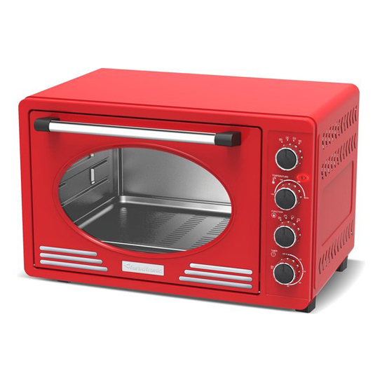 Tt Retro Rvs Elektrische Oven Rood