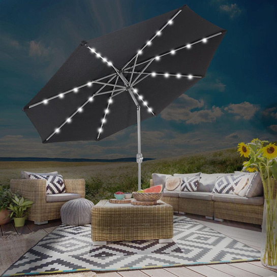 Goodvibes Kantelbare Parasol Met Led Verlichting Zwart