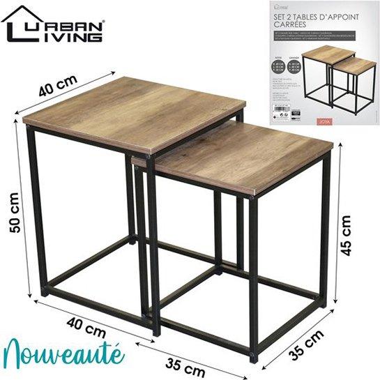 Urban Living Set Van 2 Vierkante Houten Bijzettafels Joya1