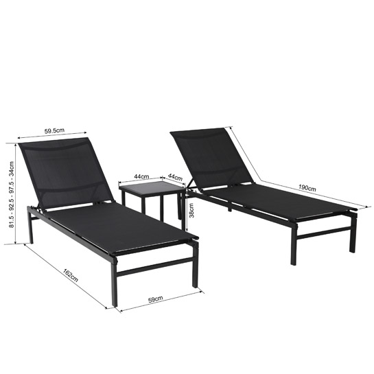 Fano Ligbedden Set 3 Delig Verstelbaar Zwart Maten 545x545