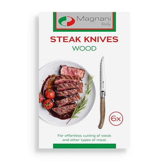 Magnani Steakmessen Hout Met Doos