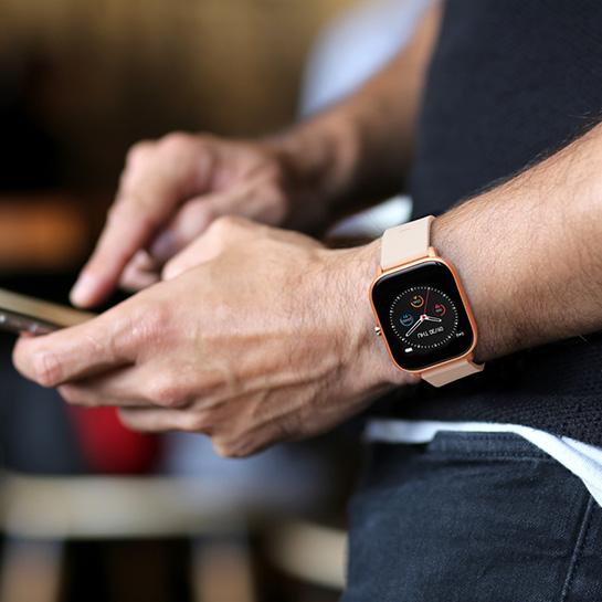 Smartwatch 2 Kleuren, Goud Om Pols