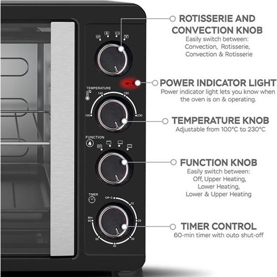 Turbotronic Feo45 Elektrische Oven 45 Liter Zwart Informatie