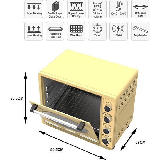 Turbotronic Tt Ev35r Retro Rvs Elektrische Oven 35 Liter 1600w Creme 1