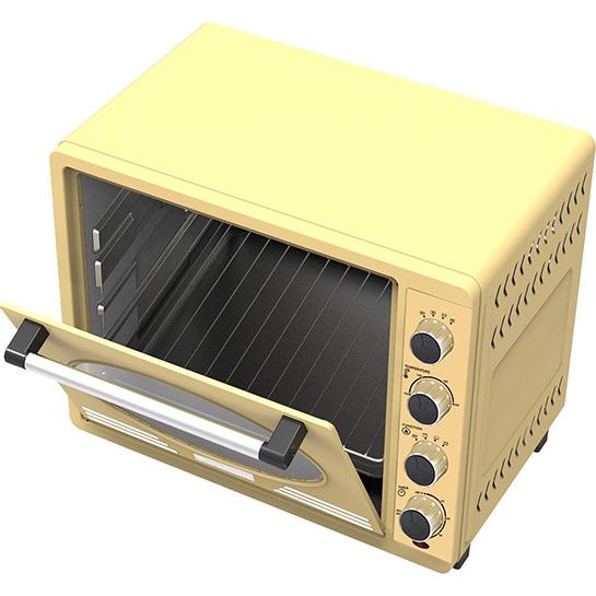 Turbotronic Tt Ev35r Retro Rvs Elektrische Oven 35 Liter 1600w Creme Binnenkant