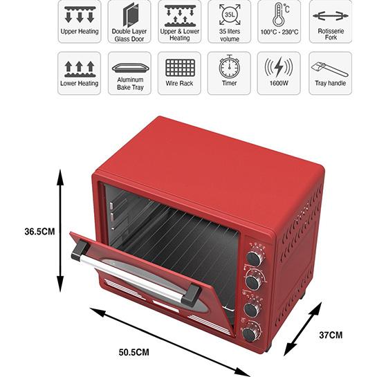 Turbotronic Tt Ev35r Retro Rvs Elektrische Oven 35 Liter 1600w Rood Afmetingen