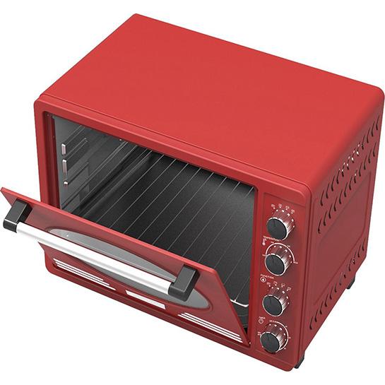 Turbotronic Tt Ev35r Retro Rvs Elektrische Oven 35 Liter 1600w Rood Binnenkant