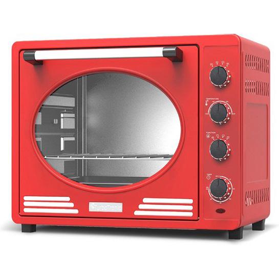 Turbotronic Tt Ev35r Retro Rvs Elektrische Oven 35 Liter 1600w Rood Thumbnail