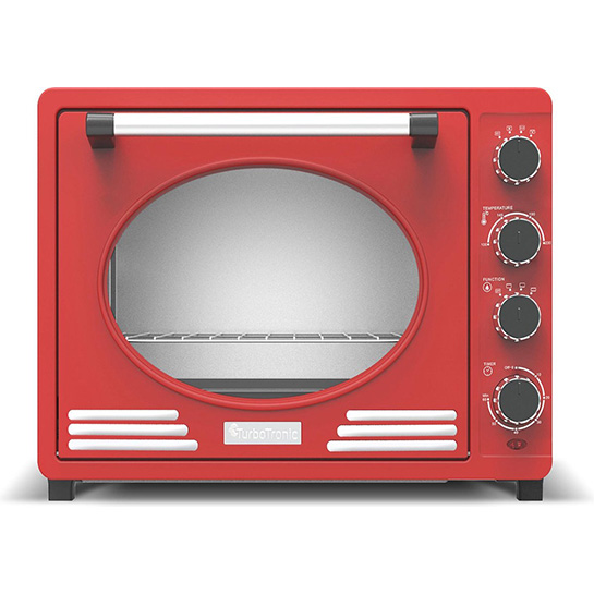 Turbotronic Tt Ev35r Retro Rvs Elektrische Oven 35 Liter 1600w Rood Voorkant
