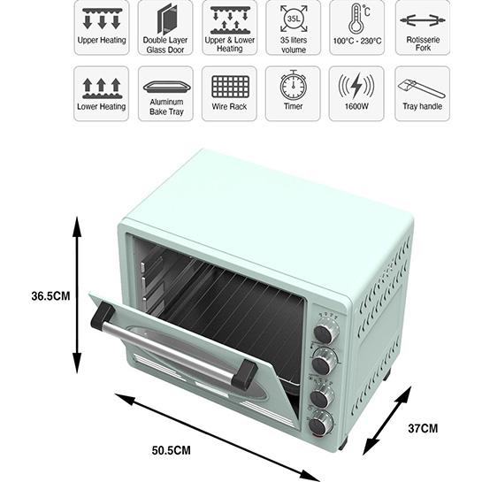 Turbotronic Tt Ev35r Retro Rvs Elektrische Oven 35 Liter 1600w Turquoise Afmetingen