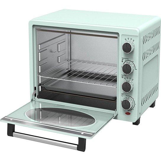Turbotronic Tt Ev35r Retro Rvs Elektrische Oven 35 Liter 1600w Turquoise Open Deur