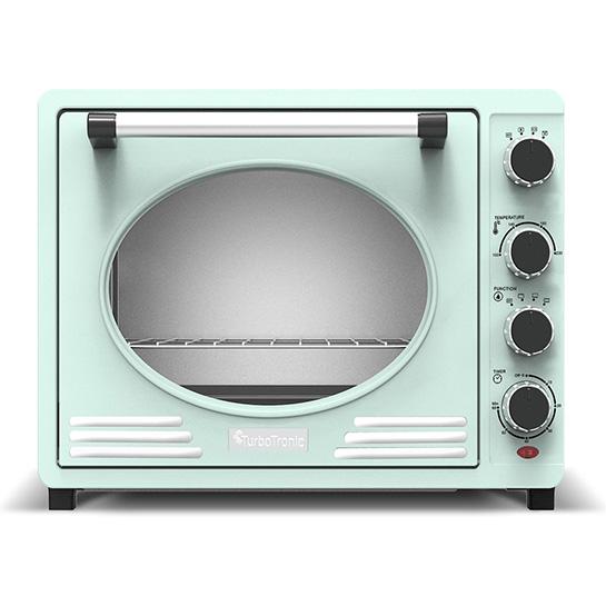 Turbotronic Tt Ev35r Retro Rvs Elektrische Oven 35 Liter 1600w Turquoise Voorkant