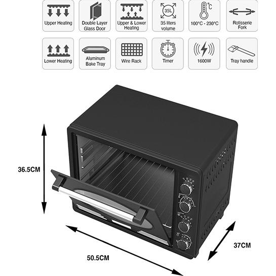 Turbotronic Tt Ev35r Retro Rvs Vrijstaande Elektrische Oven – 35 L – 1600w Zwart Afmetingen