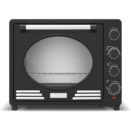 Turbotronic Tt Ev35r Retro Rvs Vrijstaande Elektrische Oven – 35 L – 1600w Zwart Voorkant