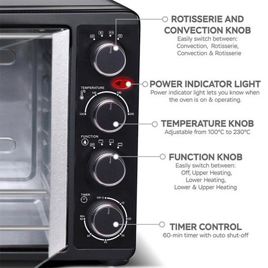Turbotronic Tt Ev55 Rvs Vrijstaande Elektrische Oven – Franse Deuren 55 L – 2200w Zwart